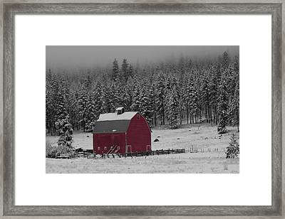 Winter Barn In Red Framed Print by Mark Kiver
