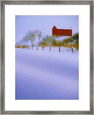 Winter Barn Framed Print by Ron Jones