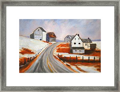 Winter Barns Framed Print by Nancy Merkle