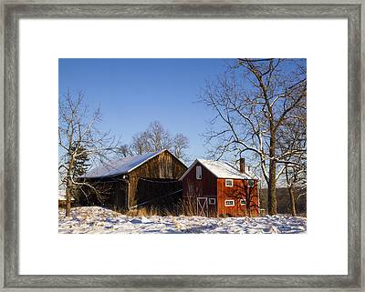Winter Barns  Framed Print by Tim Fitzwater