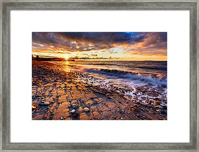 Winter Beach Sunset Framed Print by Alexis Birkill