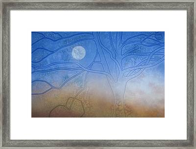 Winter Beech And Diurnal Moon Framed Print