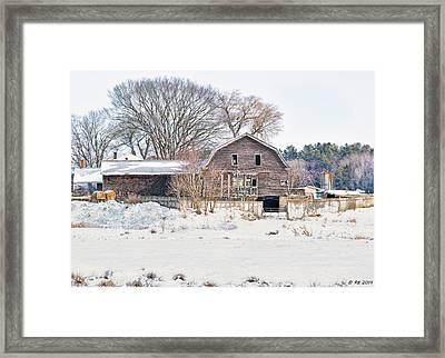 Winter Behind The Barn Framed Print
