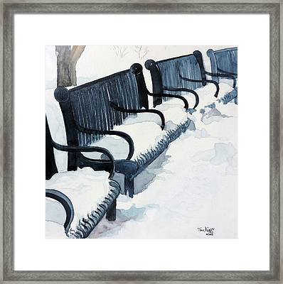 Framed Print featuring the painting Winter Benches by Tom Riggs