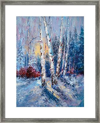 Winter Birch Trees Framed Print by Holly LaDue Ulrich