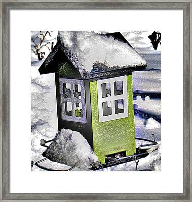 Framed Print featuring the photograph Winter Birdfeeder by Nina Silver