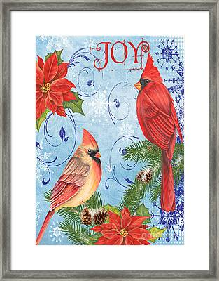 Winter Blue Cardinals-joy Card Framed Print