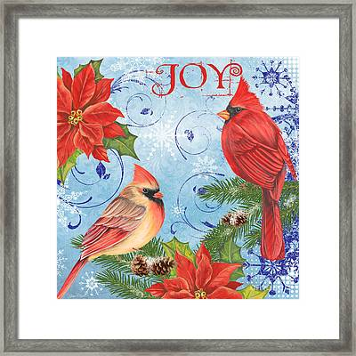 Winter Blue Cardinals-joy Framed Print