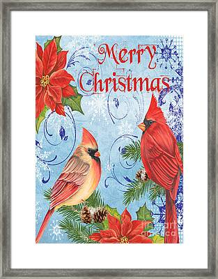 Winter Blue Cardinals-merry Christmas Card Framed Print