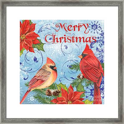 Winter Blue Cardinals-merry Christmas Framed Print
