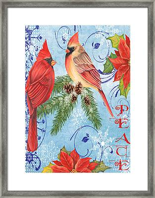 Winter Blue Cardinals-peace Card Framed Print