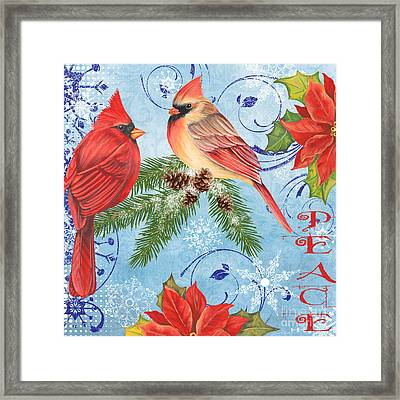 Winter Blue Cardinals-peace Framed Print