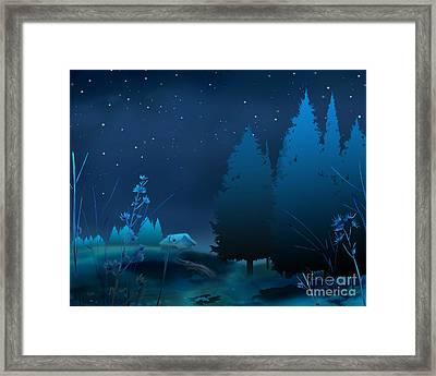 Winter Blue Night Framed Print