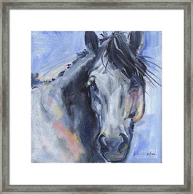 Grey Horse Painting Winter Blues Framed Print by Maria's Watercolor
