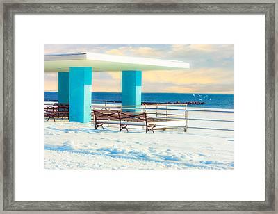Winter Boardwalk Shelter Framed Print by Chris Lord