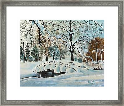 Framed Print featuring the painting Winter Bridge by Cathy Long
