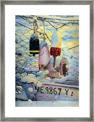 Winter Buoys Framed Print by Cindy McIntyre