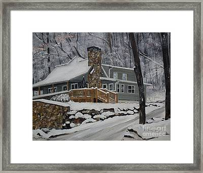 Winter - Cabin - In The Woods Framed Print by Jan Dappen