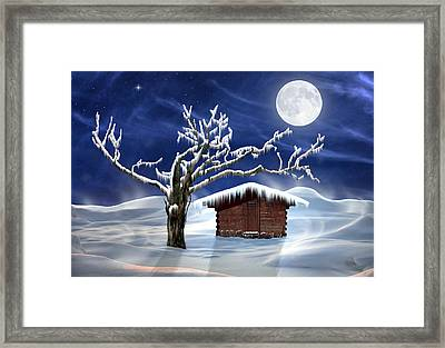 Winter Cabin Framed Print by Nina Bradica