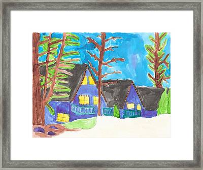 Framed Print featuring the painting Winter Cabins by Artists With Autism Inc
