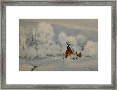 Winter Camp Framed Print by Richard Hinger