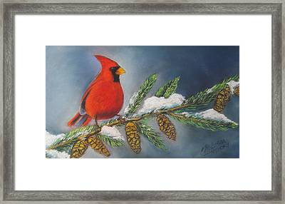 Winter Cardinal 2 Framed Print by Melinda Saminski