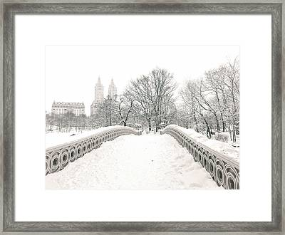 Winter - Central Park - Bow Bridge - New York City Framed Print by Vivienne Gucwa