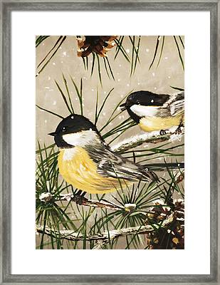 Winter Chickadees Framed Print by Chastity Hoff