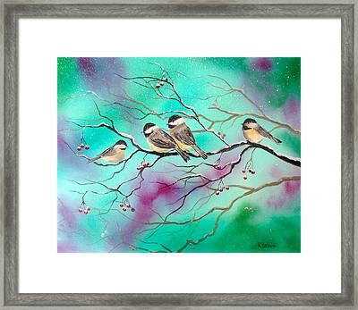 Winter Chickadees Framed Print