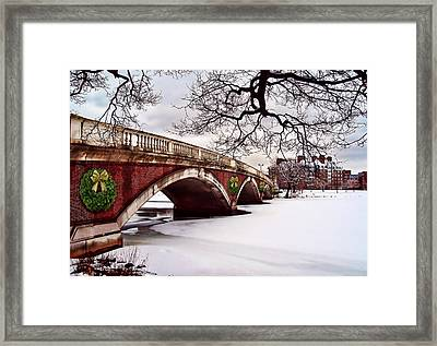 Winter Christmas On The Charles River Boston Framed Print by Elaine Plesser