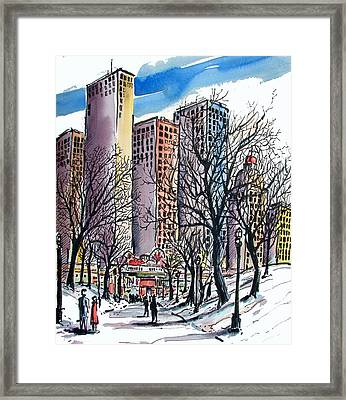 Framed Print featuring the painting Winter City by Terry Banderas