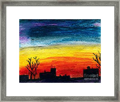 Winter City Twilight Framed Print by R Kyllo