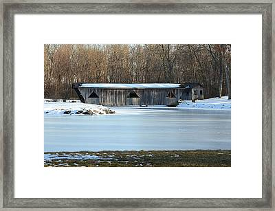 Winter Covered Bridge Framed Print by Jennifer  King