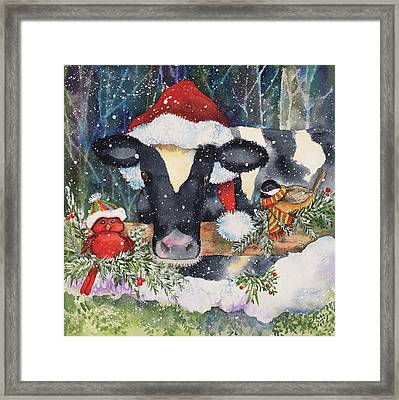 Winter Cow Framed Print by Kathleen Parr Mckenna