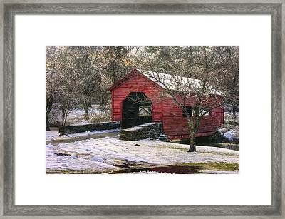 Winter Crossing In Elegance - Carroll Creek Covered Bridge - Baker Park Frederick Maryland Framed Print by Michael Mazaika