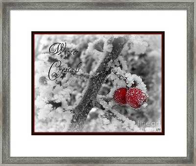 Framed Print featuring the photograph Winter Crystals On Red by Heidi Manly