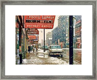 Winter Day On Euclid Avenue Framed Print by Ludwig Keck