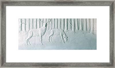Winter Stag And Deer Framed Print by Deborah Dendler