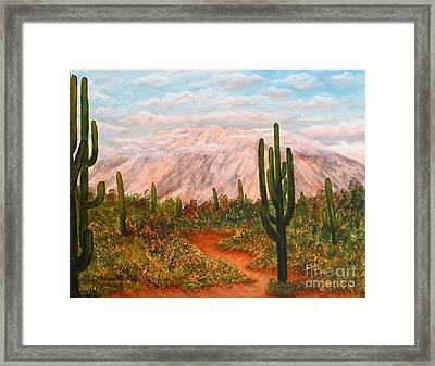 Winter Desert At Sunset Framed Print by Judy Filarecki