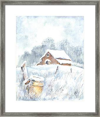 Winter Down On The Farm Framed Print by Carol Wisniewski