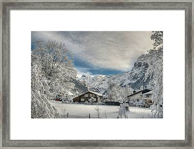 Winter Dream In Engelberg Framed Print by Caroline Pirskanen