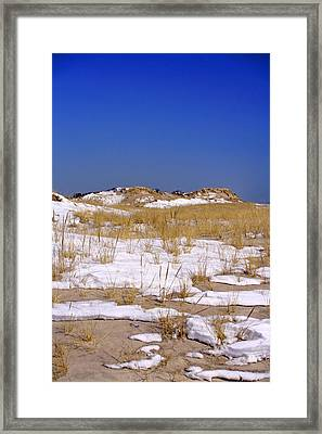 Framed Print featuring the photograph Winter Dunes Fire Island by Karen Silvestri