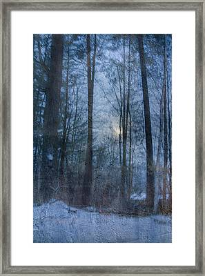 Winter Early Morning Setting Moon Framed Print