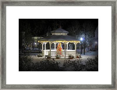 Winter Evening Gazebo Framed Print