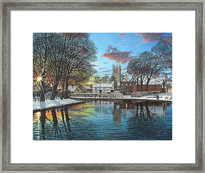 Winter Evening Tickhill Yorkshire Framed Print by Richard Harpum
