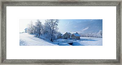 Winter Farm Austria Framed Print by Panoramic Images