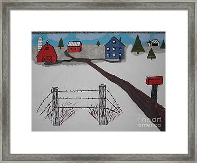 Framed Print featuring the painting Winter Farm by Jeffrey Koss