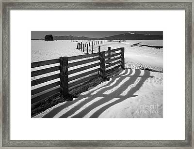 Winter Fence Framed Print by Inge Johnsson