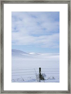 Winter Fenceline Framed Print by Latah Trail Foundation