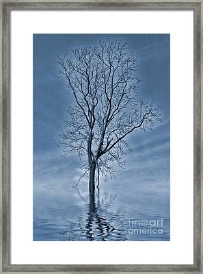 Winter Floods Painting Framed Print by John Edwards